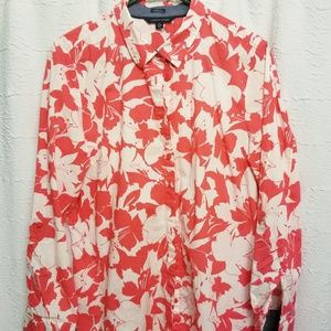 Tommy Hilfiger Blouse Shirt Coral White